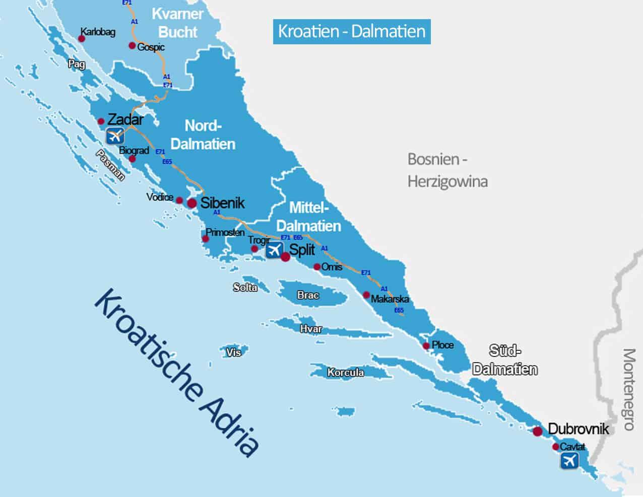dalmatien karte